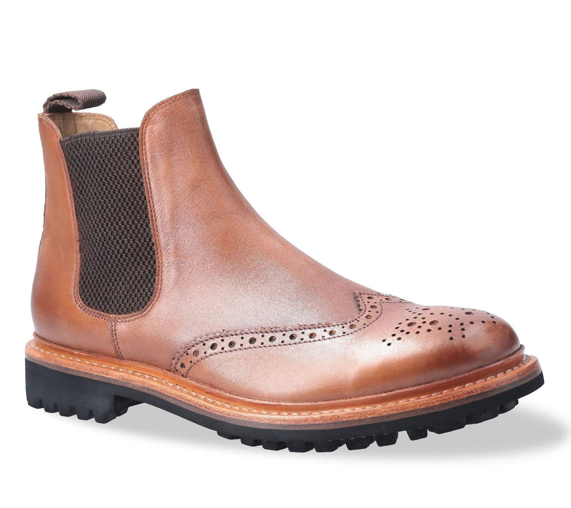 Tan Brown Cotswold Siddington Commando Brogue Chelsea Boot