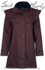 waterproof caped coat in deep claret from jack murphy the cotswold coat