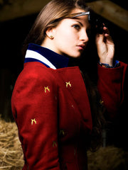 lady wearing Sporting Hares Beauchamp Blazer | Huntsman Red