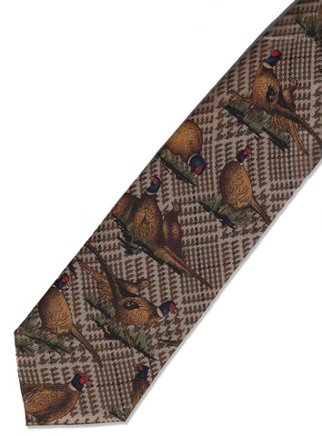 Hoggs Silk Countryman's Tie brown tartan with golden pheasants