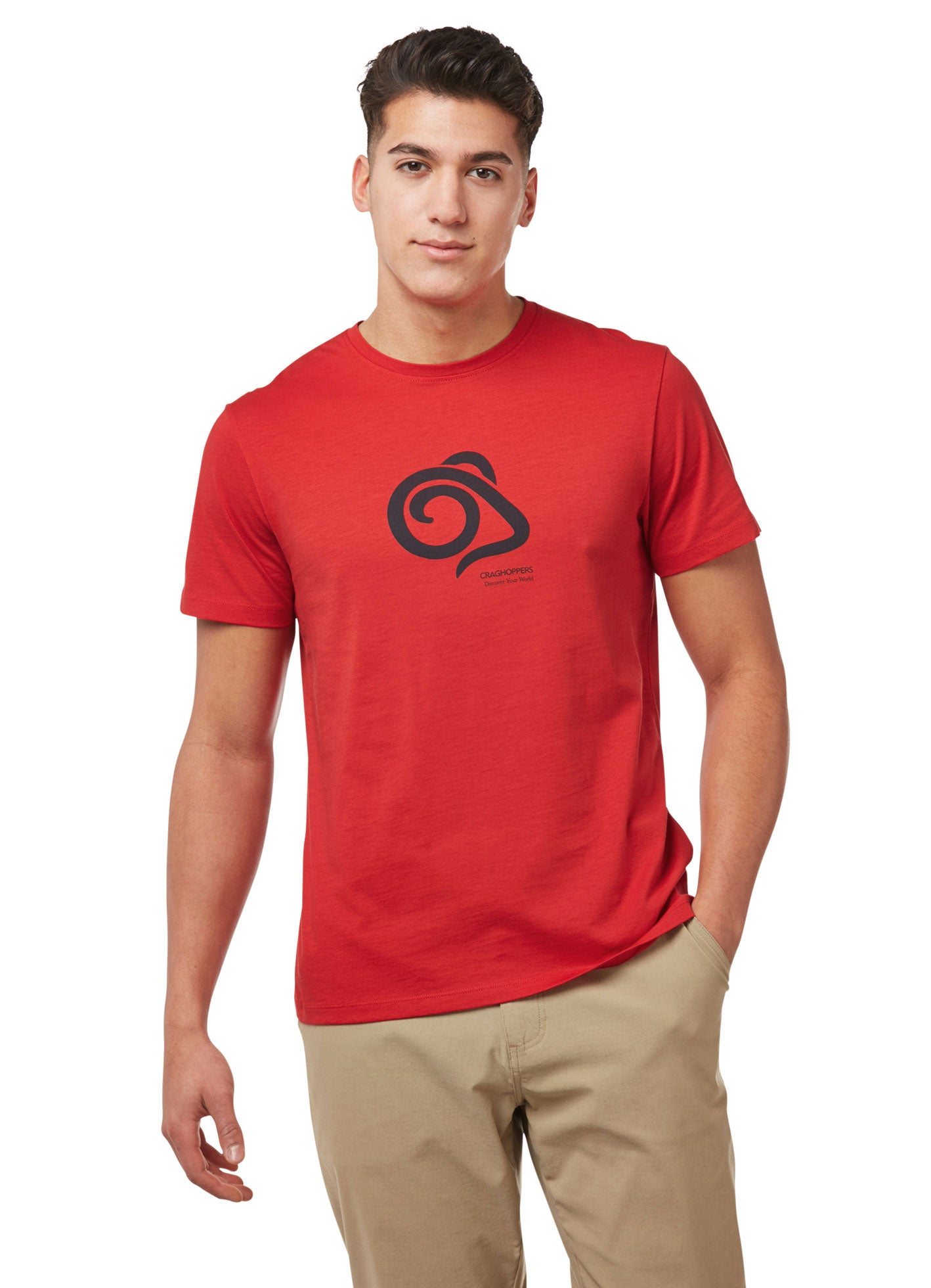 Man's Red T with Craghoppers Logo