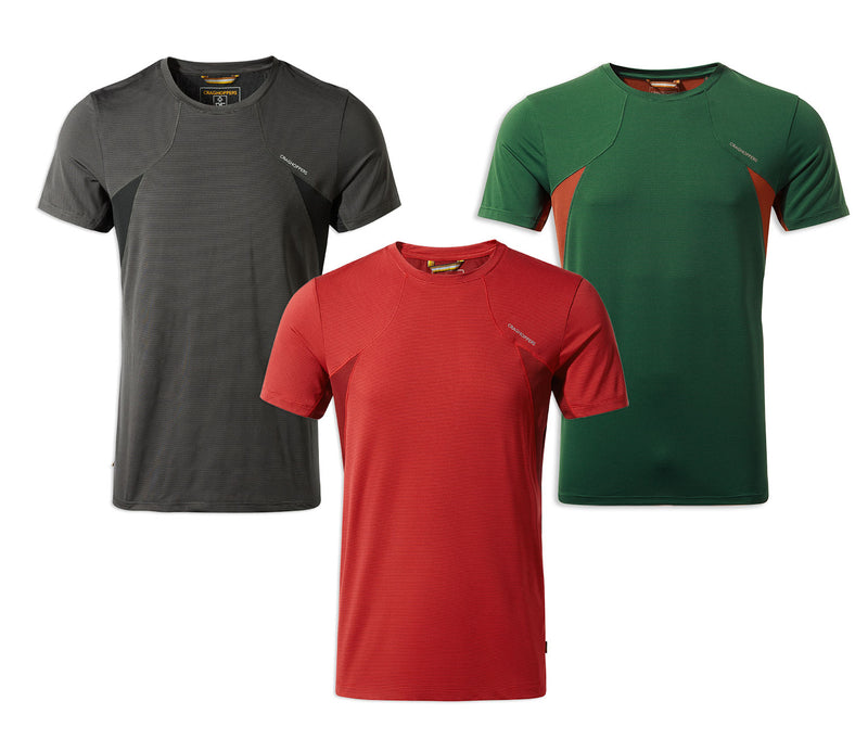 Craghoppers Fusion T-Shirt | Mountain Green, Firth Red, Black Pepper
