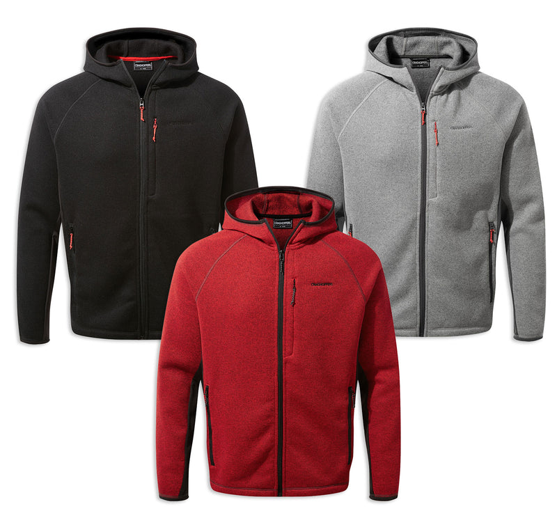 Craghoppers Apollo Hooded Fleece Jacket | Black, Sriracha, Soft Grey