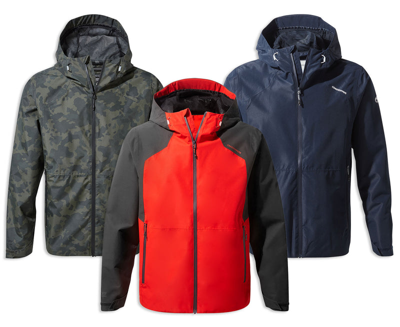 Craghoppers Balla Waterproof Jacket | Aster Red, Camouflage, Blue Navy