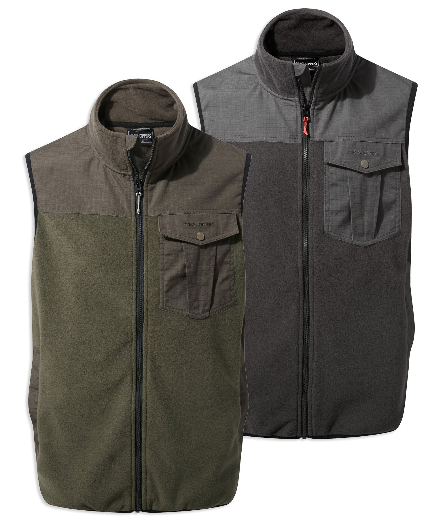 Craghoppers Dillon Micro Fleece Gilet Vest | Woodland, Black Pepper