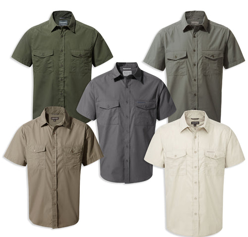 Craghoppers Kiwi Short Sleeved Shirt. Cedar, Pebble, Oatmeal, Dark Grey, Ombre Blue