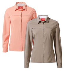 Craghoppers NosiLife Pro II Ladies Long Sleeve Shirt | Rosette, Mushroom