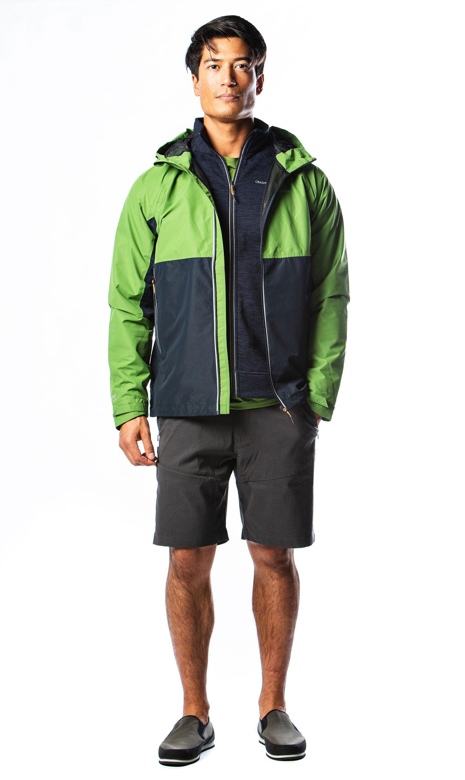 Craghoppers shorts and waterproof outfit