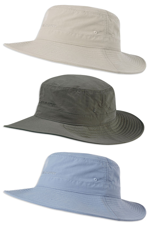Craghoppers NosiLife Sun Hat in Desert Sand, Ocean Blue and Dark Khaki