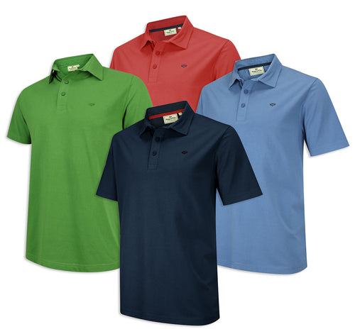 Hoggs Crail Jersey Polo Shirt, Navy, Green, Dutch Blue, Garnet Red