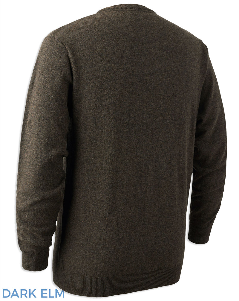 Back View Dark Elm Deerhunter Brighton Lambswool Knit O-Neck Jumper