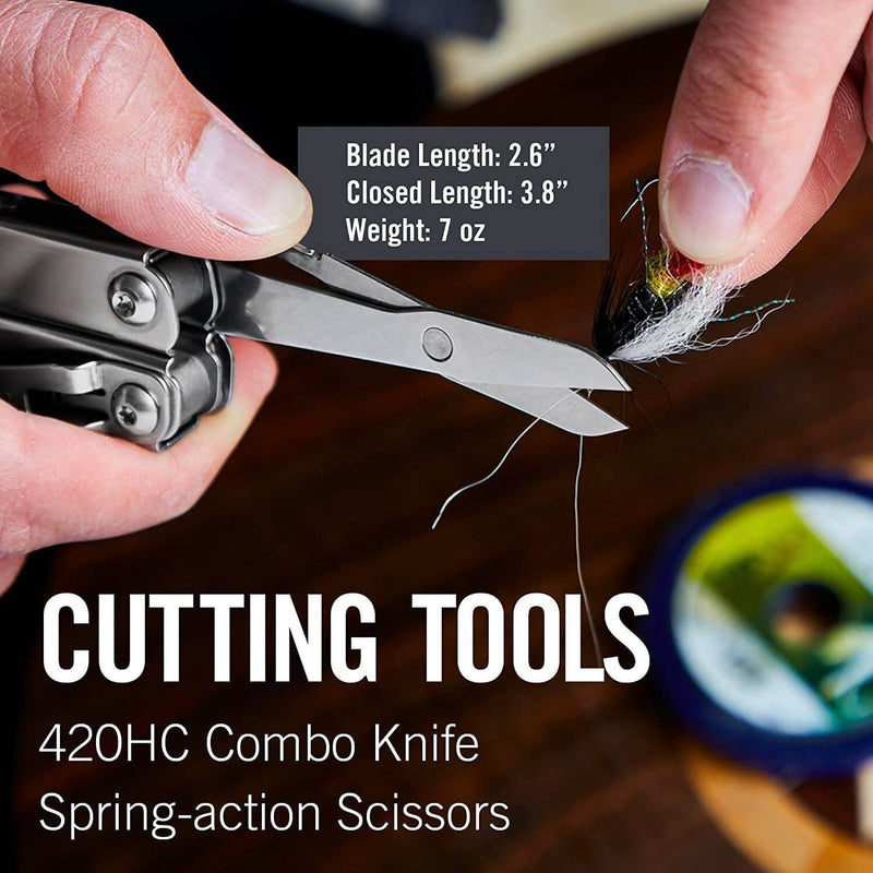Combo knife, spring action scissors
