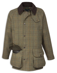 Alan Paine Rutland Waterproof Tweed Shooting Coat | Dark Moss