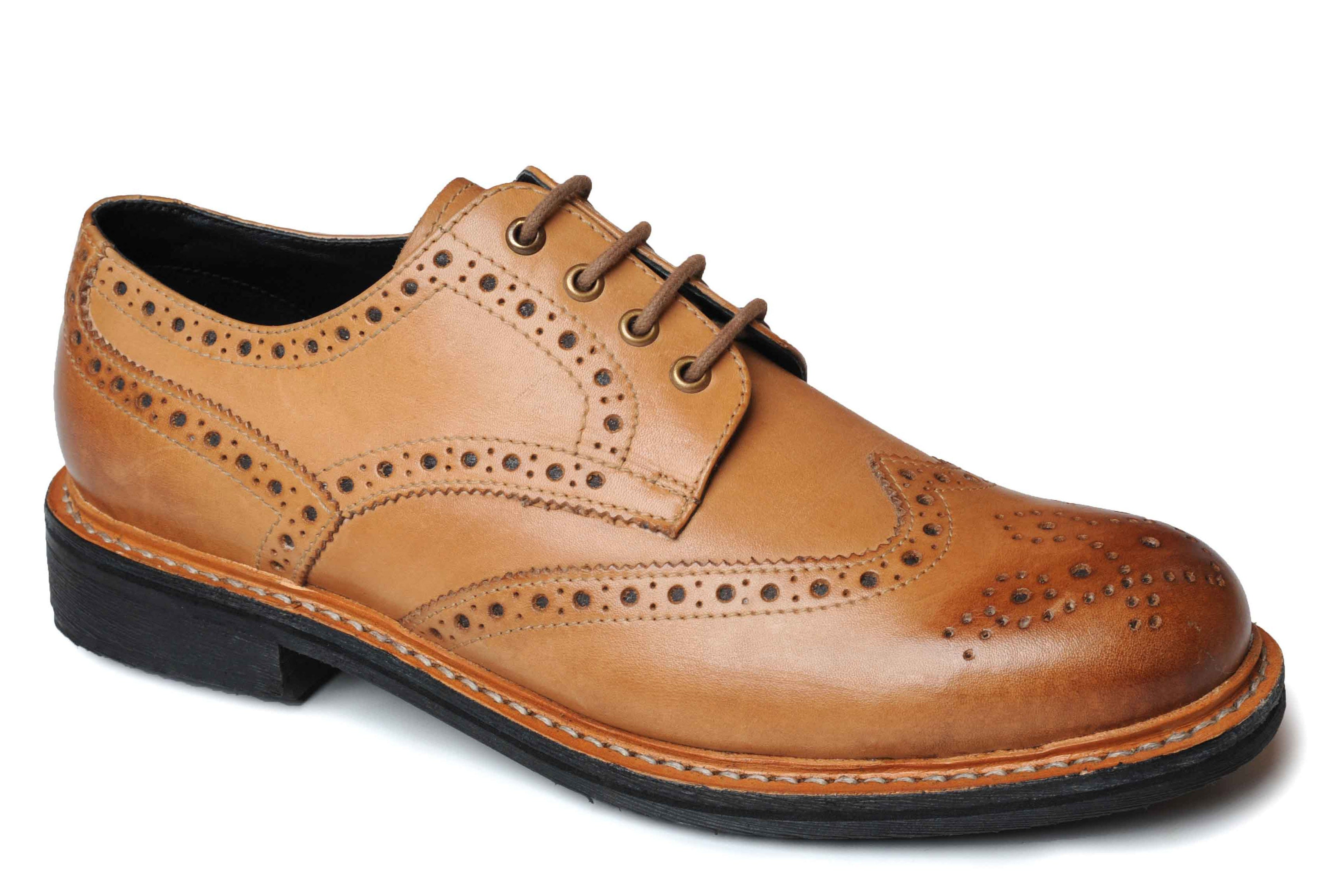 Catesby Tan Leather Brogue with Gripping Rubber Sole