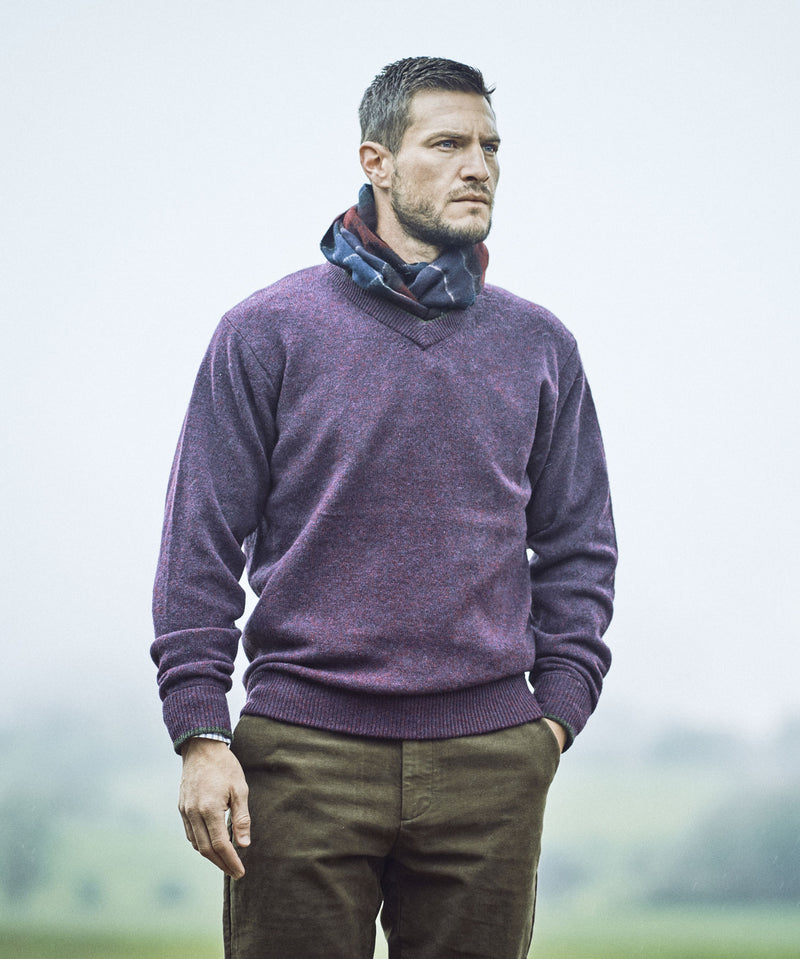 Man Wearing Damson Shooting Sweater