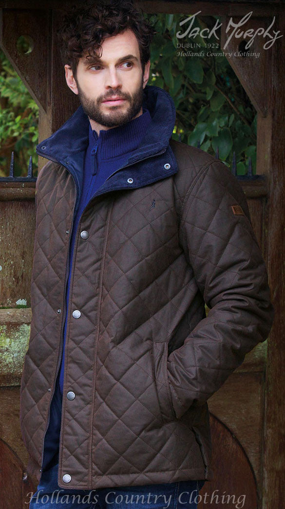 Jack Murphy Dara Men's Quilted Waxed Jacket in brown