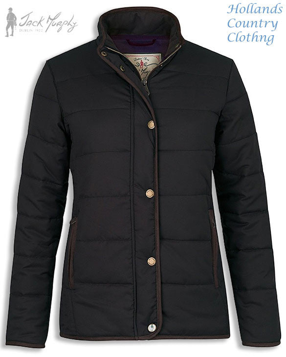 in black Jack Murphy Darcy Ladies quilted coat