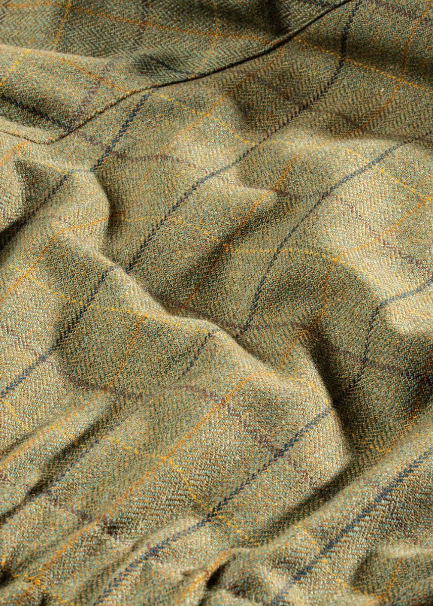 Dark Moss Wool Check Tweed
