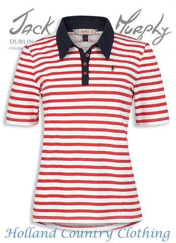 Jack Murphy Dawn short sleeve polo shirt  in Perfect Red and white Stripe