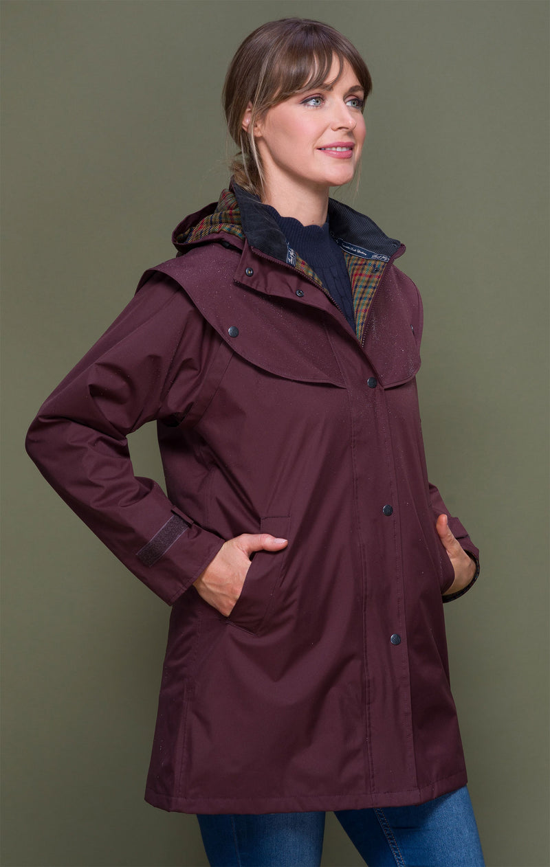 Deep Claret Jack Murphy Cotswold Three Quarter length Ladies Coat