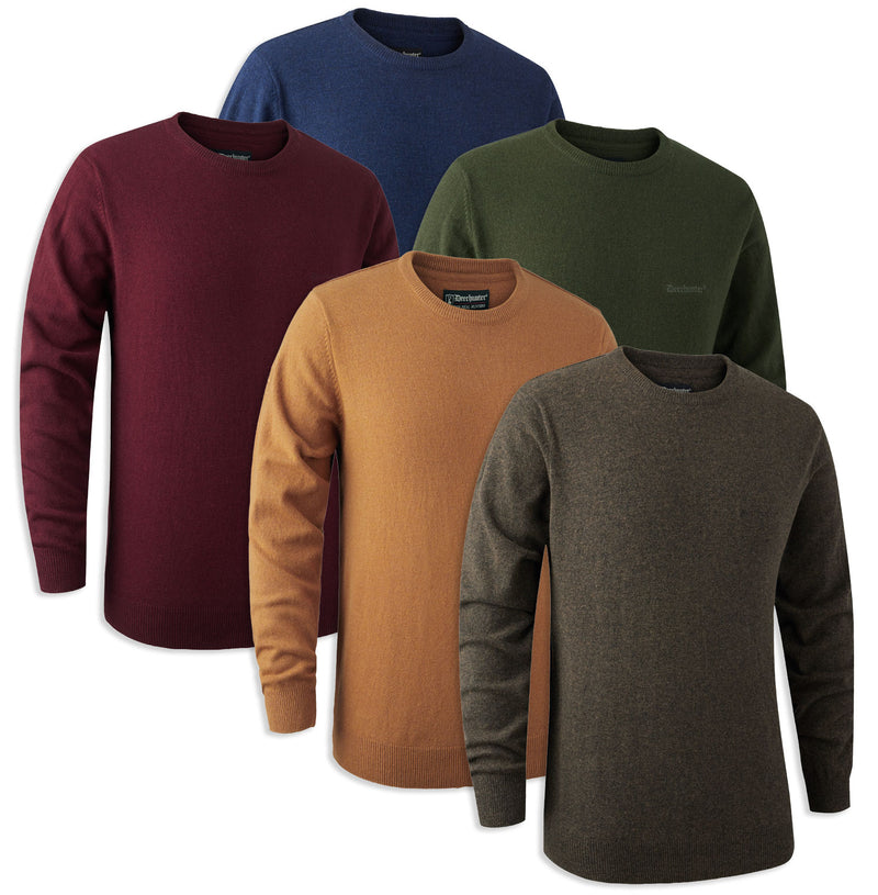 Deerhunter Brighton Lambswool Knit O-Neck Jumper | Five Colours