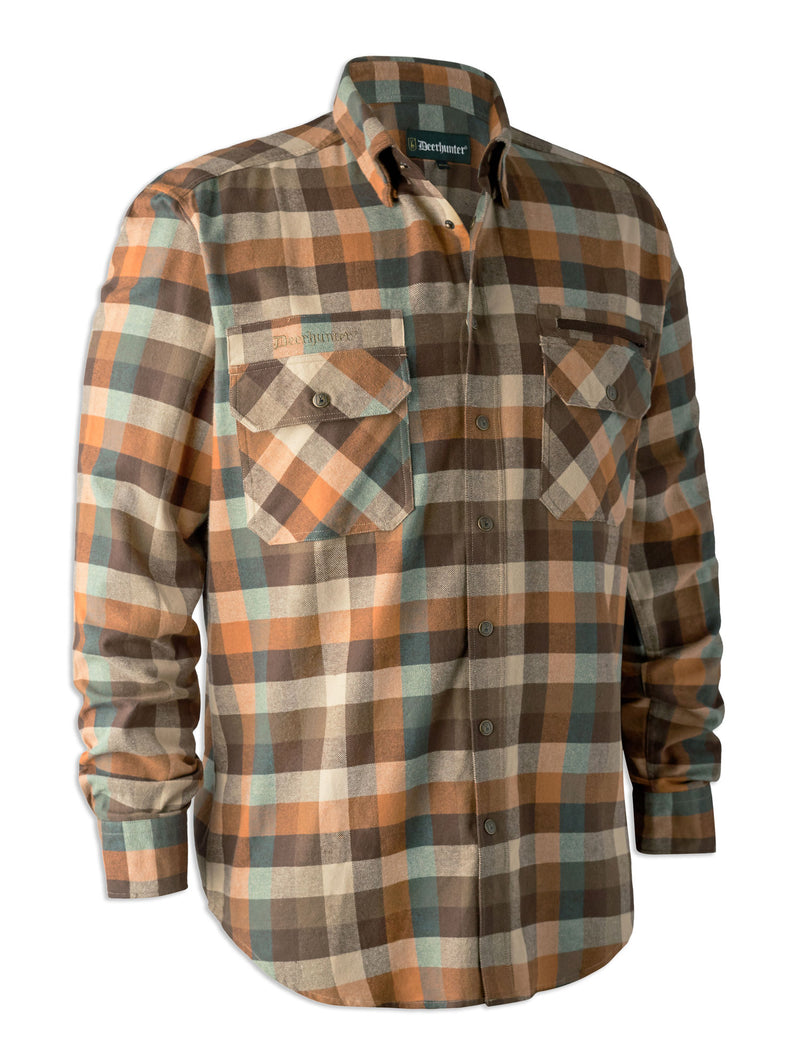 Deerhunter James Tartan Shirt with Suede Patches | Brown Check