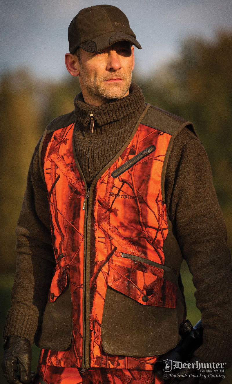 mans shooting gilet Deerhunter Cumberland PRO Waistcoat in innovation blaze orange for hunters