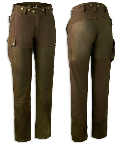 Deerhunter Lady Paris Leather Mix Trousers | Walnut