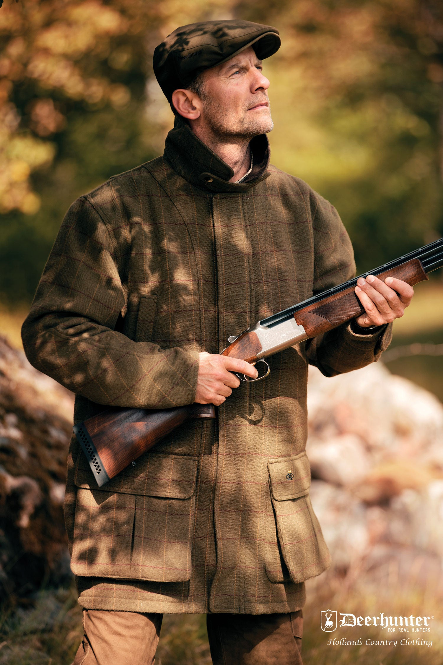 Deerhunter Woodland Waterproof Tweed Shooting Jacket Mosstone Green Colour