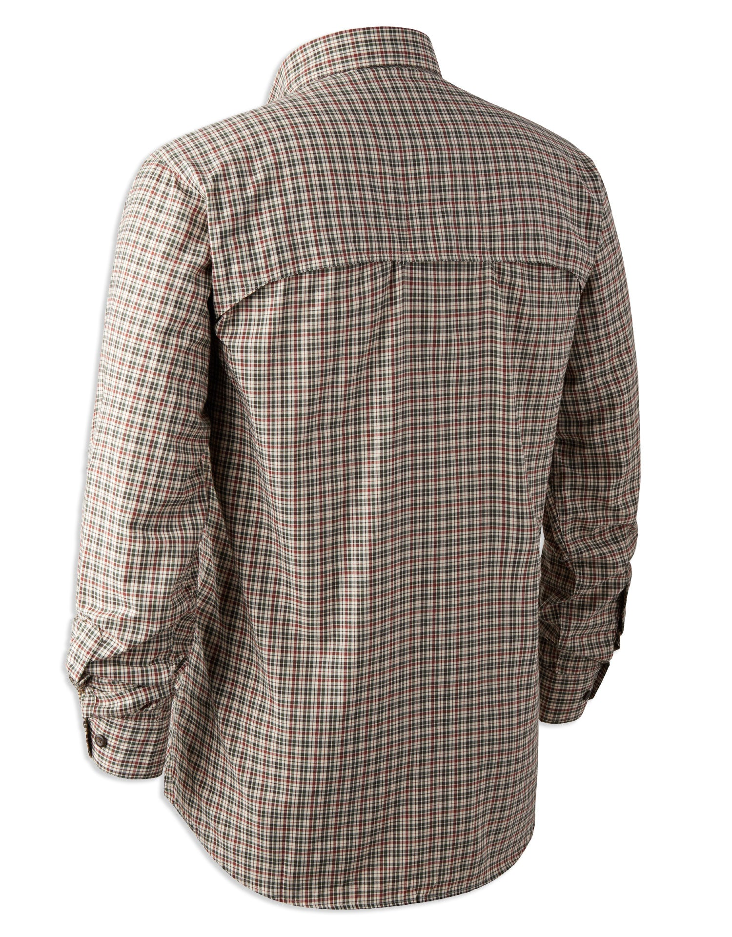 rear view showing shoulder vents on check shirt