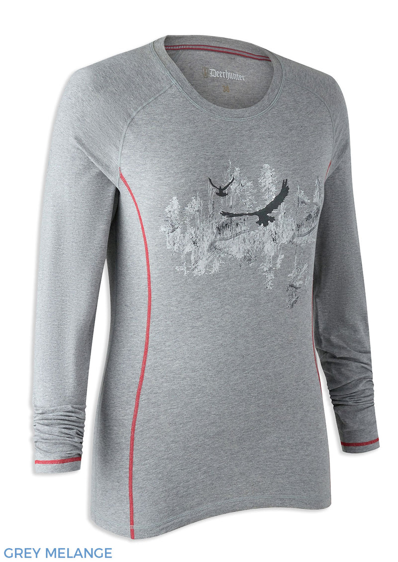 Grey Melange Deerhunter Lady Hazel Long Sleeve Shirt