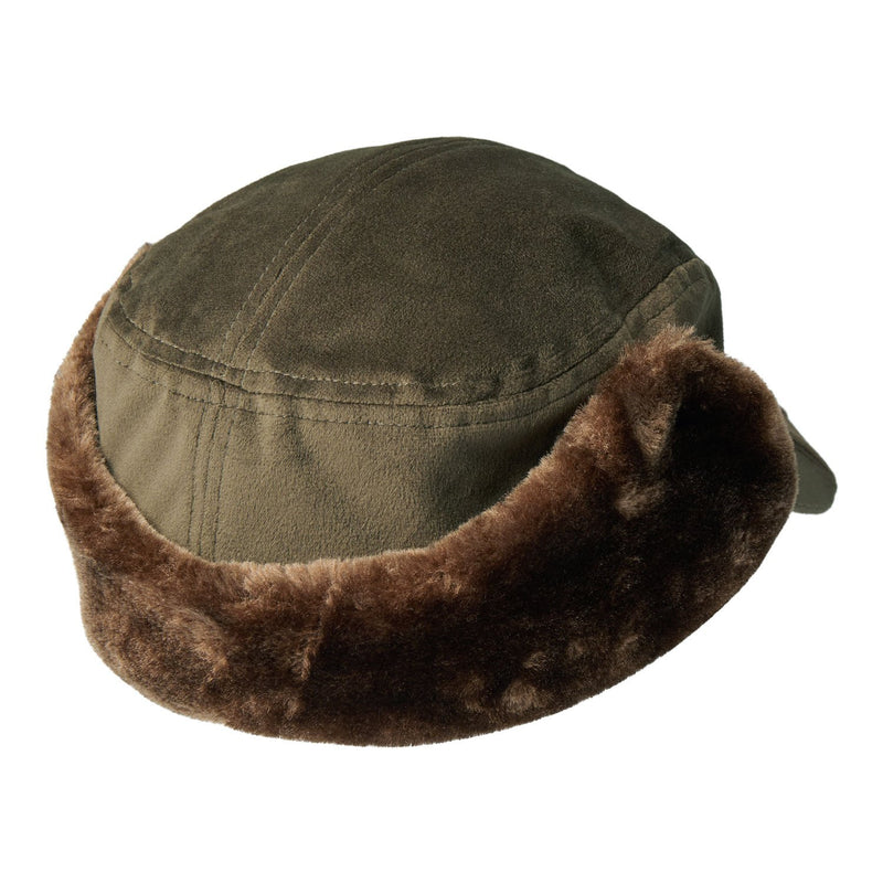 Furry trapper hat back view