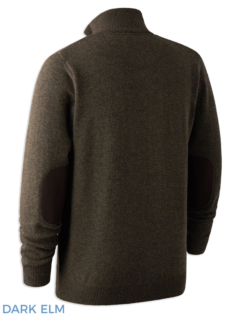 Back view Deerhunter Lambswool Zip Neck Sweater
