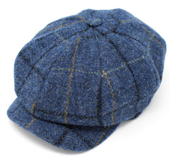 Hanna Tweed Gatsby Eight Piece Cap | Blue with Check