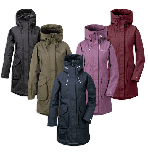 Didriksons Thelma 4 Waterproof Parka | Black, Fog Green, Eggplant, Dark Night Blue, Wine Red