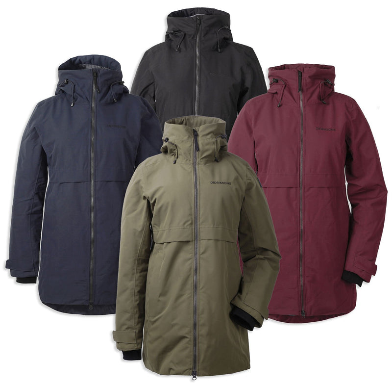 Didriksons Helle II Waterproof Parka | Red. Black, Crocodile Green, Dark Night Blue