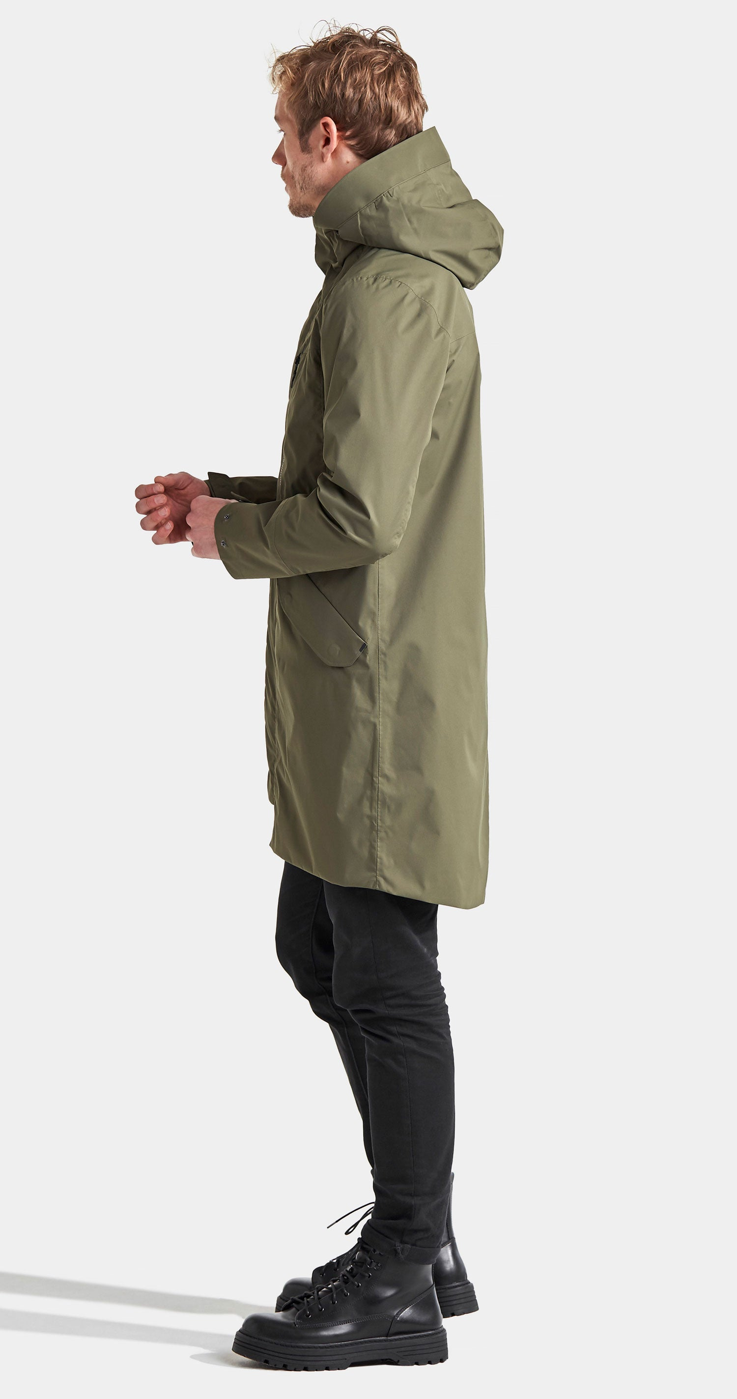 Parka coat scooped tail