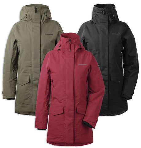 Didriksons Frida III Padded Waterproof Parka | Black, Element Red, Crocodile Green