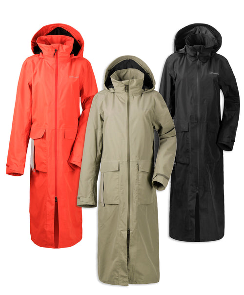 Didriksons Nadja Long Waterproof Coat | Poppy Red, Mistal Green, Black