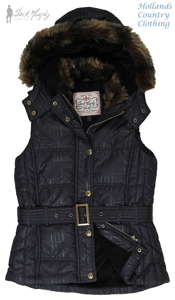 Jack Murphy Dina Ladies Padded Fleece lined  Hooded Gilet in black