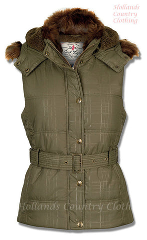 Jack Murphy Dina Ladies Padded Fleece lined  Hooded Gilet in bark green