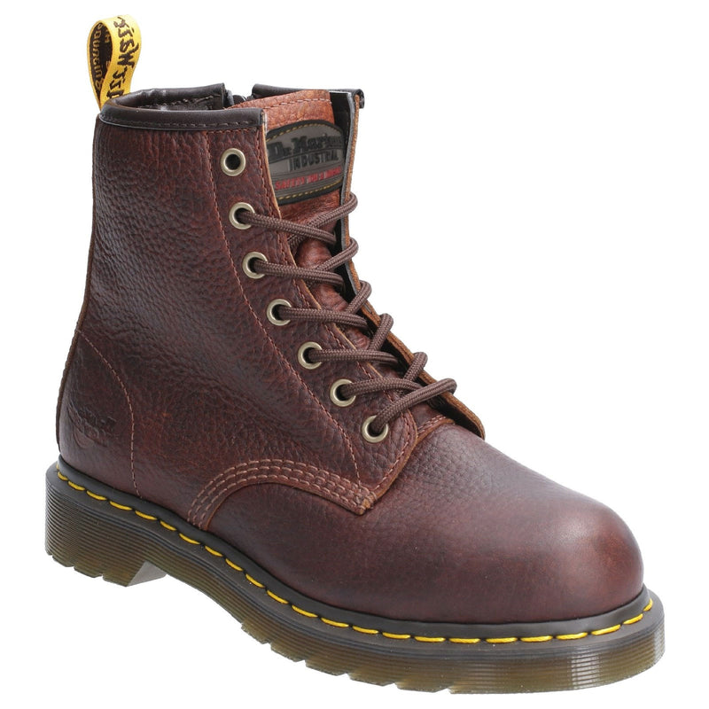 Seven Eyelet lace up Doc Martens Maple Zip Steel Toe Ladies Work Boot