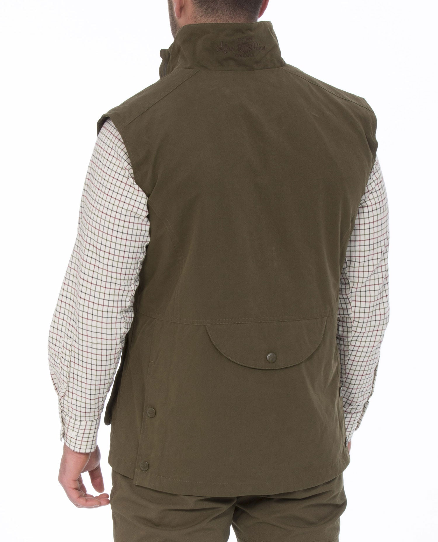 Rear view Dunswell Men's Waterproof Waistcoat by Alan Paine
