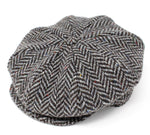 Hanna Tweed Baggy Button Cap | Grey Jumbo Salt and Pepper Herringbone