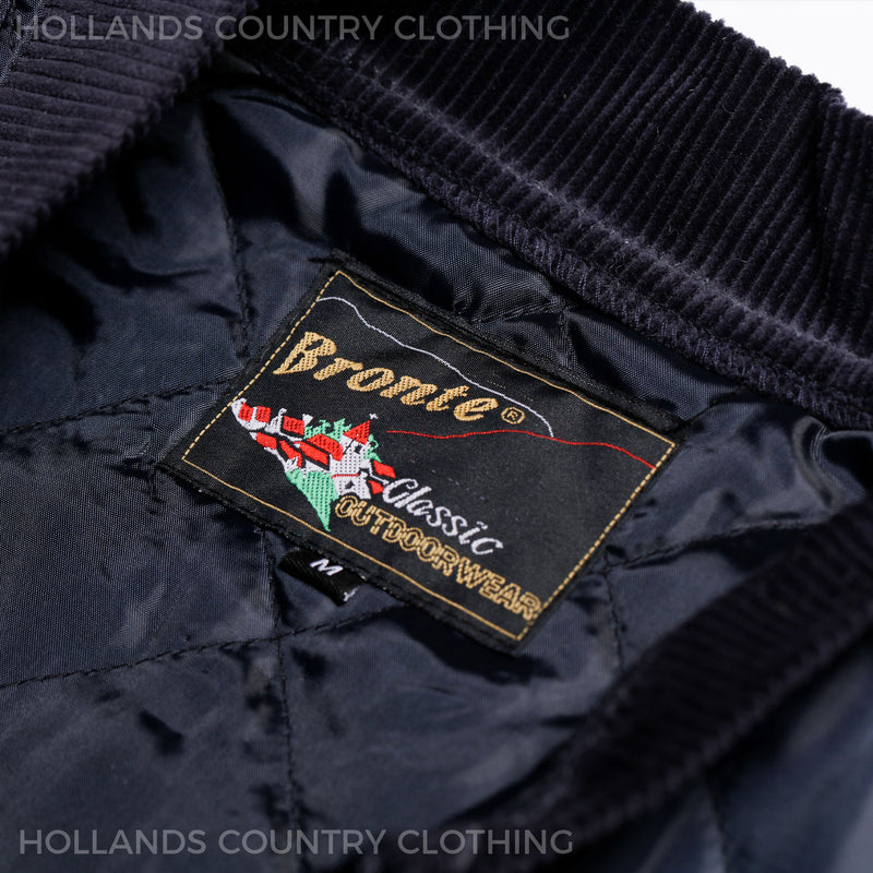 Bronte countrywear label for navy bodywarmer