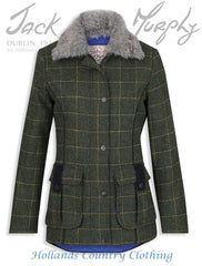 Jack Murphy Ester Tweed with Faux Fur Collar in Country Green Check
