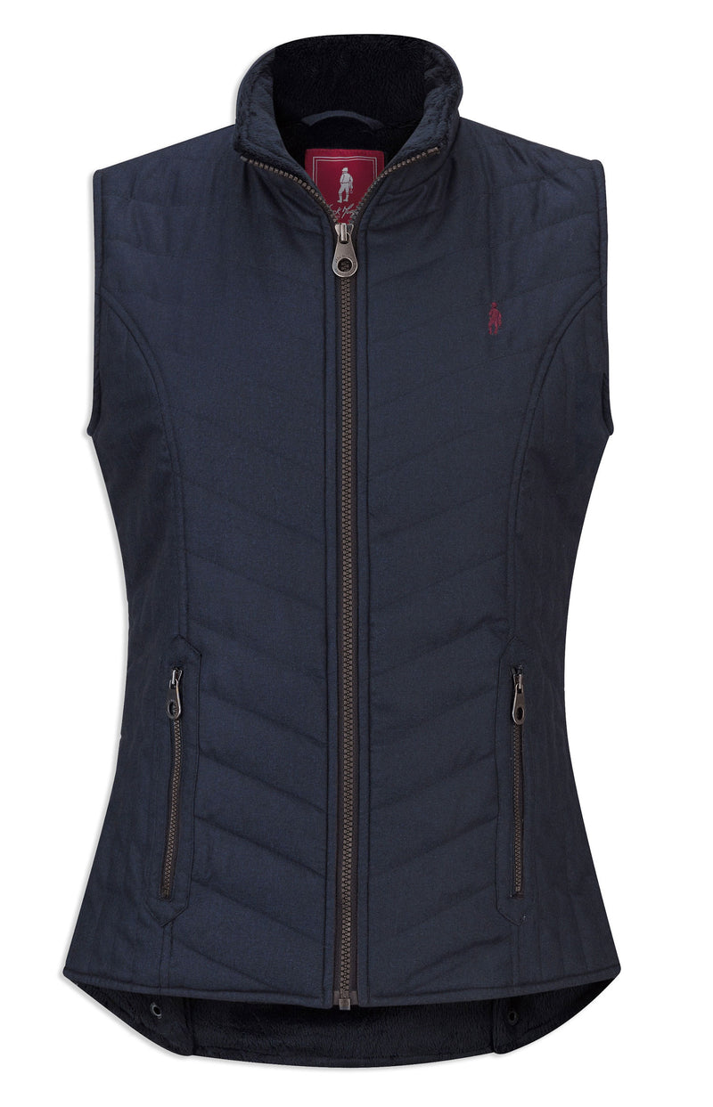 Navy Herringbone Everly Quilt Fleece Lined Bodywarmer