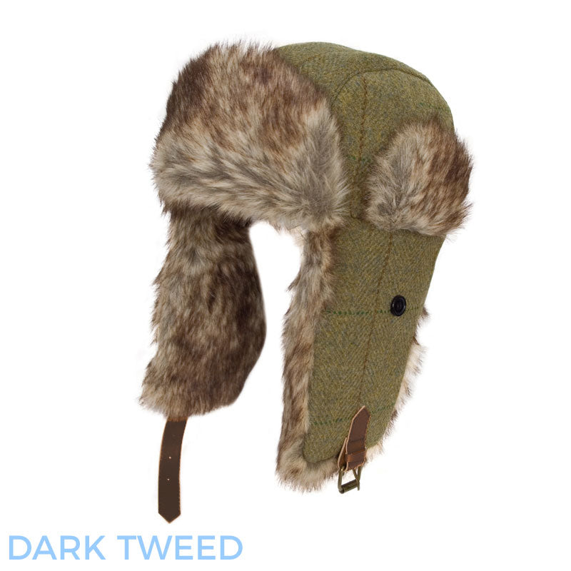 58f4c2159da Hawkins Tweed Trapper Hat With Faux Fur Trim – Hollands Country Clothing