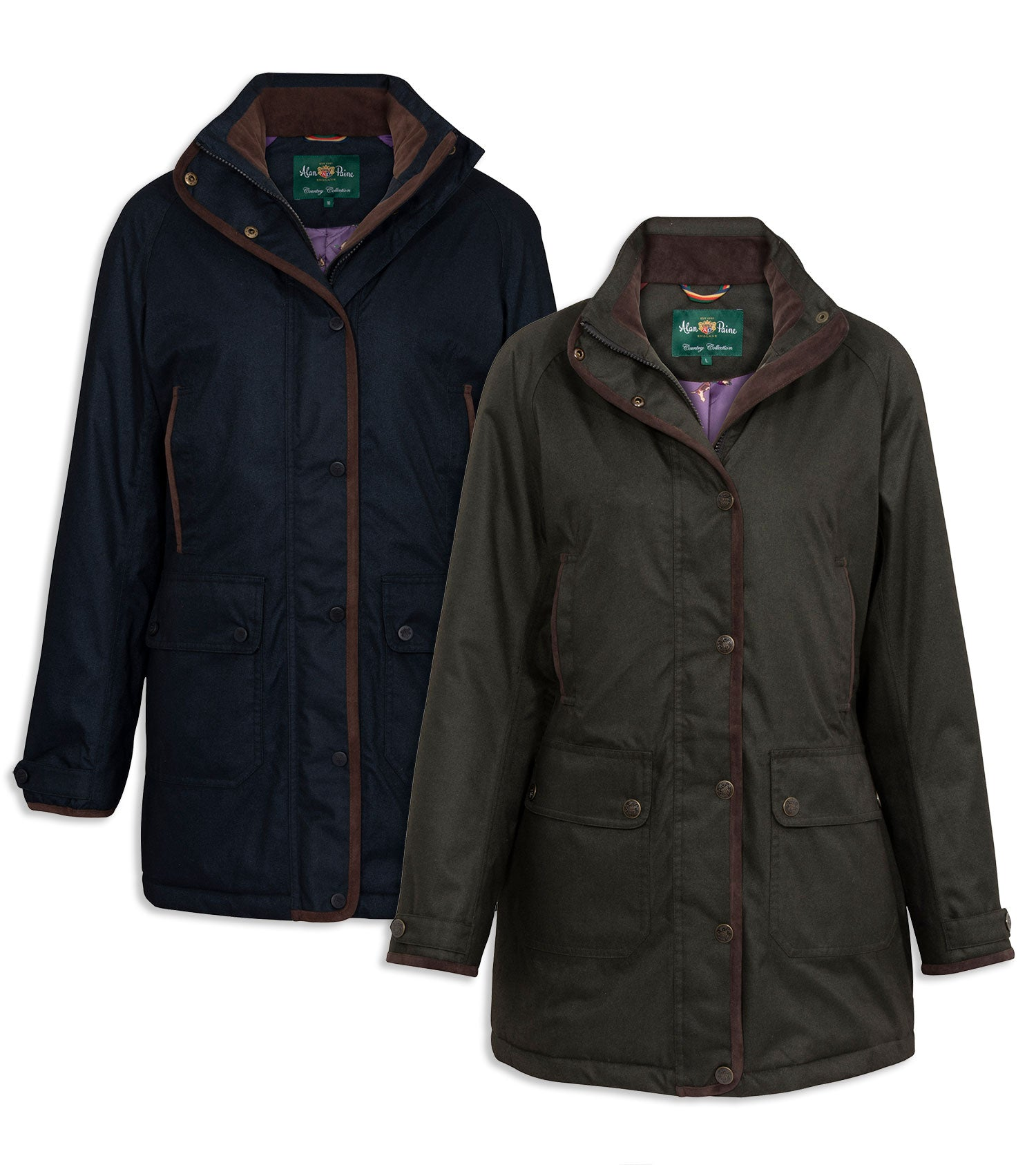 Alan Paine Fernley Ladies Weekend Coat | Woodland Green, Navy Blue