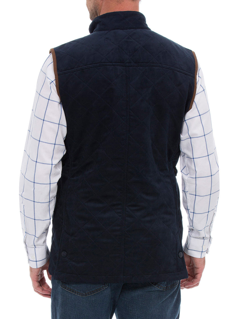 Navy back view Felwell Men's Quilted Waistcoat by Alan Paine